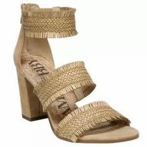 Sam & Libby   Raffia Straw Fringe Block Sandals